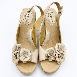 BOC Born Concepts Leather Cork Floral Wedge Sandal